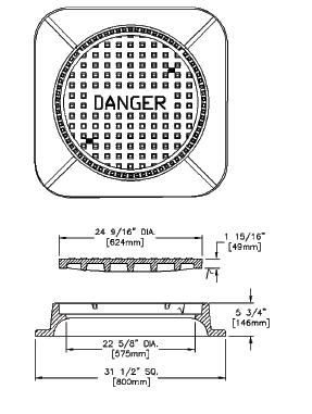 BIBBY-STE-CROIX 6540111 HM331'DGR' Manhole Solid Floor With Ceiling